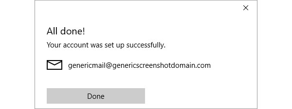 The Windows 10 Mail account created screen
