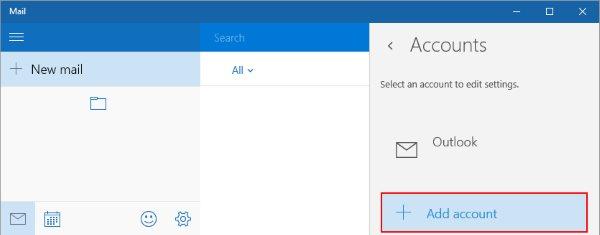The Windows 10 Mail add an account screen