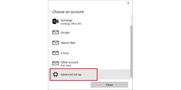 The Windows 10 Mail advanced setup screen