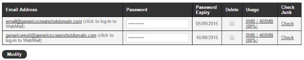 Your mail details in the eXtend Control Panel