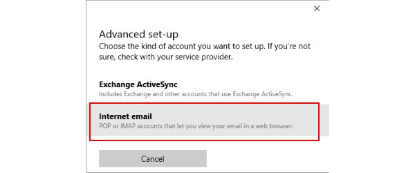 The Windows 10 Mail internet email screen